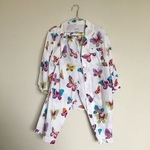Nick & Nora BUTTERFLIES Cotton Pajamas Medium